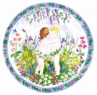 Spring cherub embroidery design.