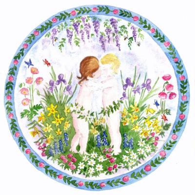 Spring cherub embroidery design.